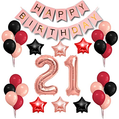 21st Birthday Decorations Set Elegant Rose Gold Pink Maroon And Black Party Supplies Happy Banner 20 Latex Balloons 6 Foil Star