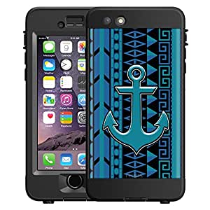 Skin Decal for LifeProof NUUD Apple iPhone 6 Case - Anchor on Aztec Vertical Blue Aqua on Black