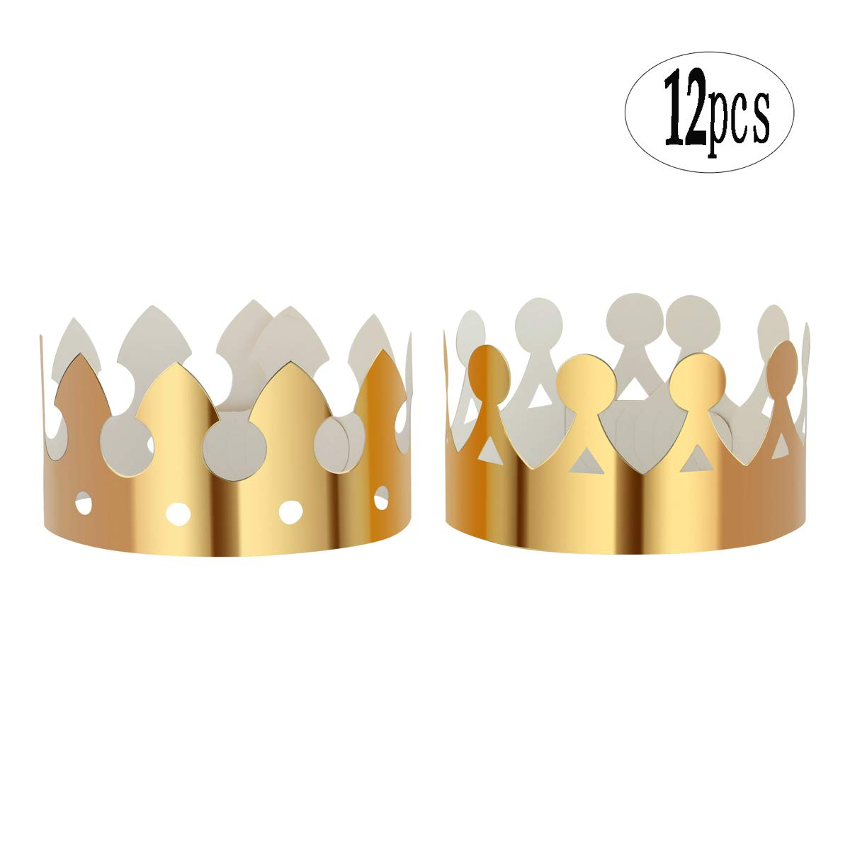 BinaryABC Gold Paper Crown,Birthday Party Hats Cap, for Birthday Party Supplies,12Pcs