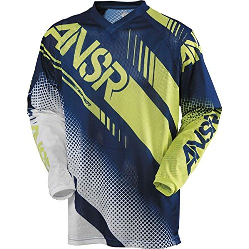 Answer A16 Syncron Air Youth Jersey, Distinct Name: White/Navy/Acid, Gender: Boys, Primary Color: White, Size: Lg, Size Segment: Youth, 471536