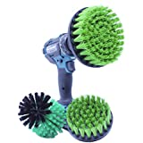 Cauragi Cleaning Brush for Bath Tub, Tile and Floor Scrubber Drill Attachment Power Brush with Medium Stiff Bristles in Green, 3 counts