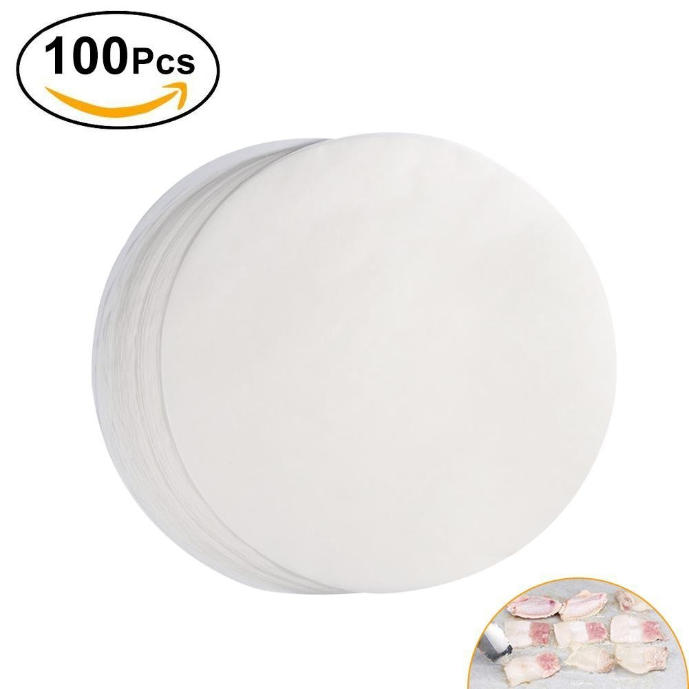 100Pcs Non-stick Round BBQ Paper Baking Sheets 11 Inch Barbecue Tin Foil Paper for Grill Line Cook Outdoor BBQ (#1)