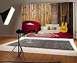 Laeacco 10x6.5ft Vinyl Photography Backdrop Happy Birthday Interior Lovely Bear Guitar Carpet Sofa Backrest Pillow Vintage Stripes Wood Plank Cartoon Photo Background Children Baby Adults Portraits