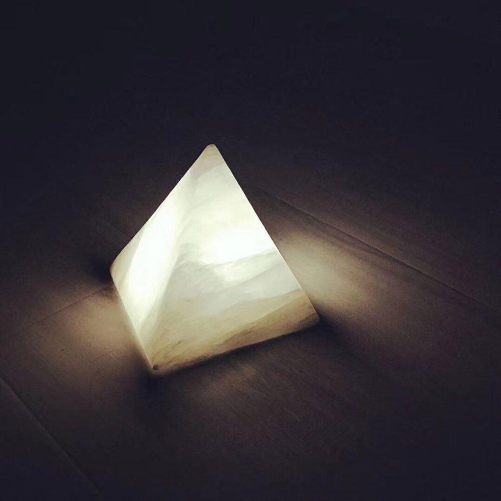KMYX Pyramid Ore Mini Night Light Romantic Bedside LampChildren's Room Decoration Lamps Send Girlfriend Gifts Art Stone Light Gorgeous Desktop Ornaments Small Table Lamp (Color : White Light)