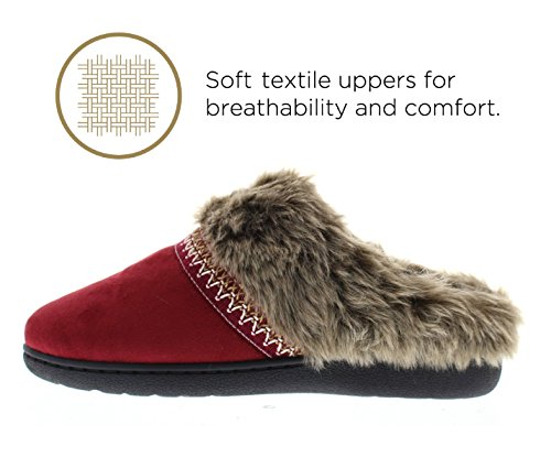 for Ladies On Toe Memory House Slip Shoes Fun Gold Women Clog Slippers Womens Wine Furry Fur Scarlet Slipper Lined Foam TPpz1w