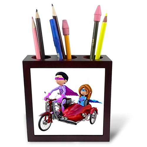 Duos Superhero (Boehm Graphics Cartoon - A Cartoon Superhero Duo Riding a Scooter with a Sidecar - 5 inch tile pen holder)