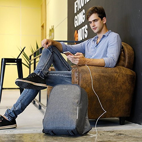 kopack 17 inch Anti Theft Laptop Backpack Waterproof Travel Backpack Rain Cover/USB Business Scan Smart by kopack (Image #7)