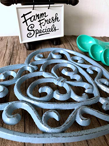 Blue Grey Fleur De Lis Heart Cast Iron Trivet - Farmhouse Table Decor - Rustic Kitchen Accessories - Large Hot Pad