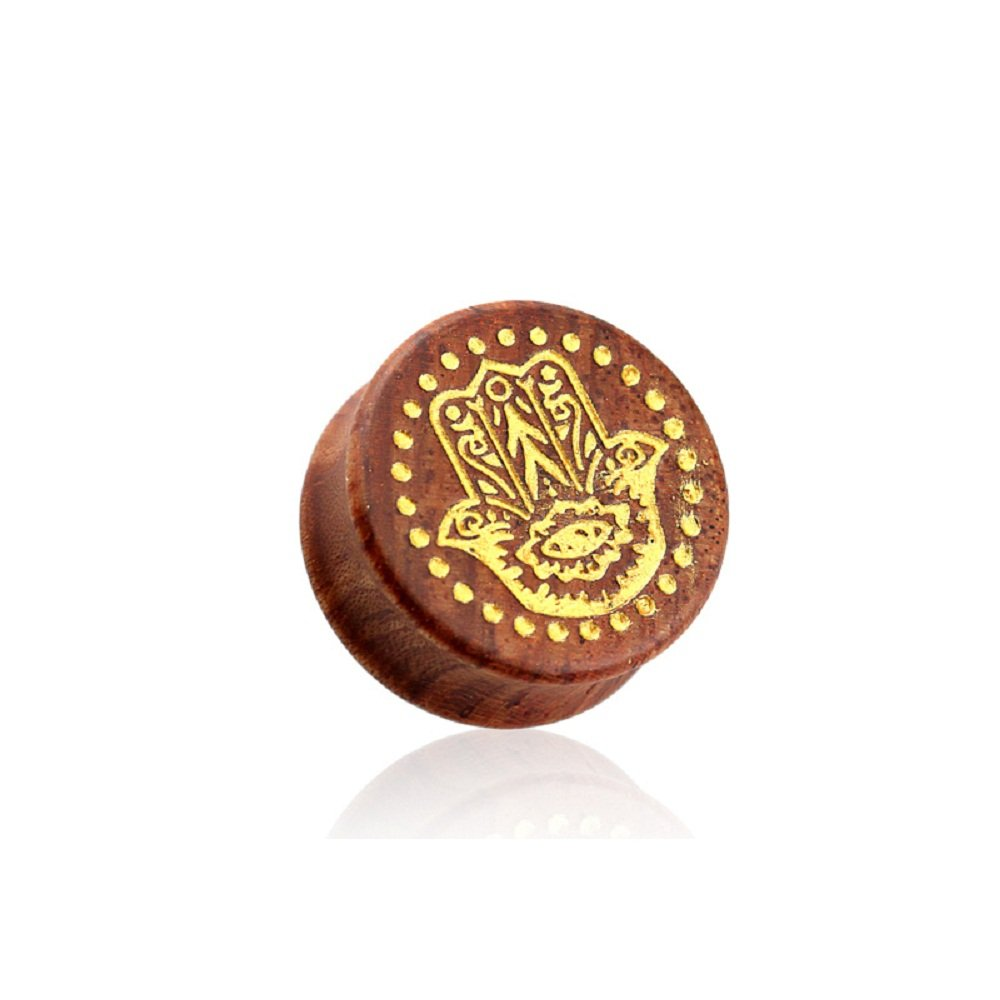 Sold by Pair Freedom Fashion Double Flared Beech Wood Saddle Plug with Gold Hamsa Hand Front Front