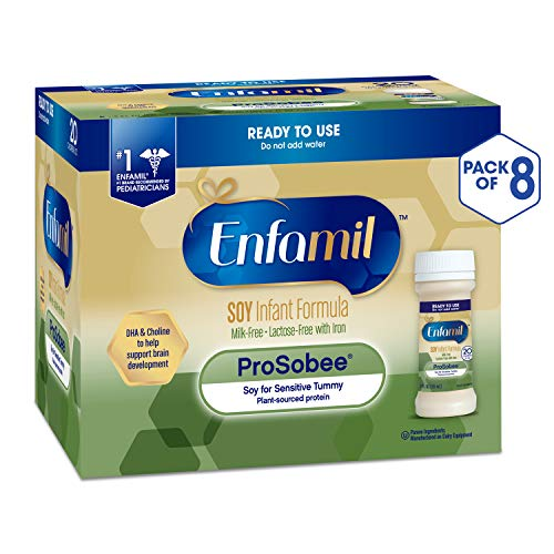 Enfamil ProSobee Soy Sensitive Tummy Baby Formula Dairy-Free Lactose-Free Milk-Free Plant Protein Ready to Use 2 fl. oz. bottles Nursette (48 bottles) Omega 3 DHA & Iron, Immune & Brain Support