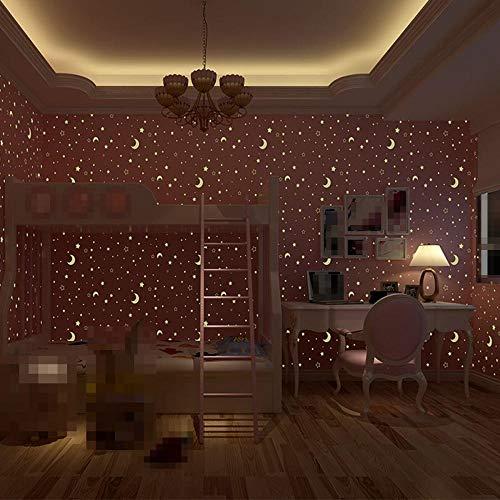 (Halloween Wallpaper Home Decor Wall Paper Roll Glow Effect Night Sky Design Star and Moon Luminous Wallpaper Kids Ceiling Decor Fluorescent Wall Paper for Children)