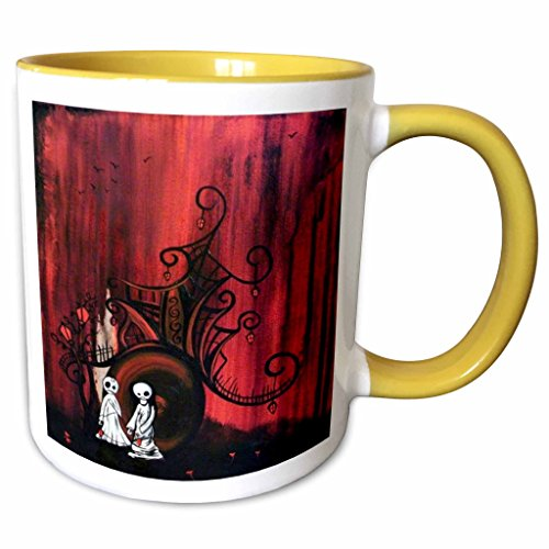 3dRose Dooni Designs Halloween Designs - Till Death Do Us Part And Forever After Zombies Ghosts - 11oz Two-Tone Yellow Mug (8 Days Till Halloween)