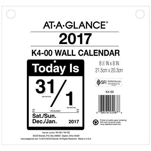 Acco AT-A-GLANCE Wall Calendar 2017, Today Is, Daily, 8-1...