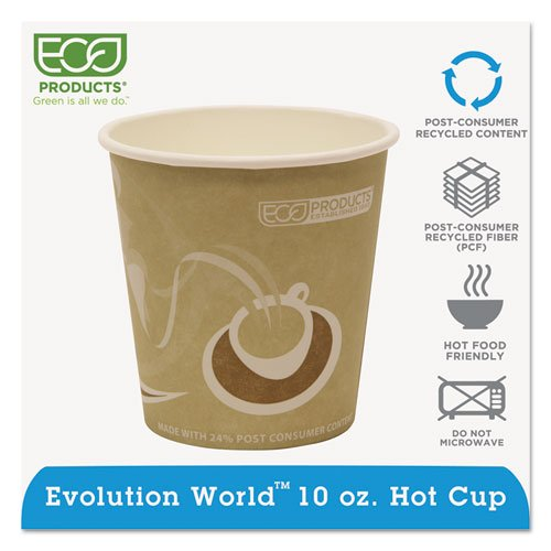 Eco-Products Evolution World 24% PCF Hot Drink Cups, 10 oz, Tan - 1,000 cups.