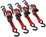 Erickson 04418 Pro Series Red 1'' x 10' Retractable Ratcheting Tie-Down Strap, (Storage Bag of 4, 1200 lb Load Capacity)