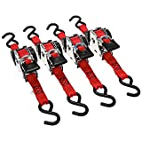 "Erickson 04418 Pro Series Red 1"" x 10' Retractable Ratcheting Tie-Down Strap, (Storage Bag of 4, 1200 lb Load Capacity)"