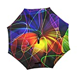 YUMOING Double Layer Inverted Fractal Pattern Abstract Chaos Chaotic Umbrellas Reverse Folding Umbrella Windproof Uv Protection Big Straight Umbrella For Car Rain Outdoor With C-shaped Handle