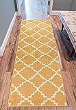 Well Woven 21012L Sydney LuLu's Lattice Gold Modern Geometric Trellis Area Rug 2'7'' x 9'10'' Runner