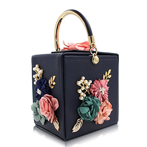 Evening Clutch Clutches Royal Female Ladies Wedding Purse Black Pink Bag Women Blue Flower dqPOzXdw