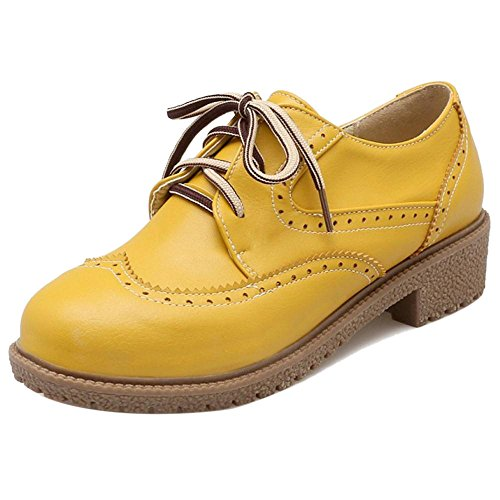 Tacco Scarpe Donne TAOFFEN Yellow Con Stringate wzSfnqICUx