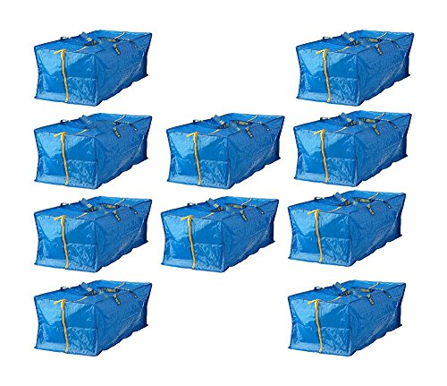 10 X LARGE BLUE Zippered BAG Shopping Laundry Storage Travel Tote FRAKTA from Unknown