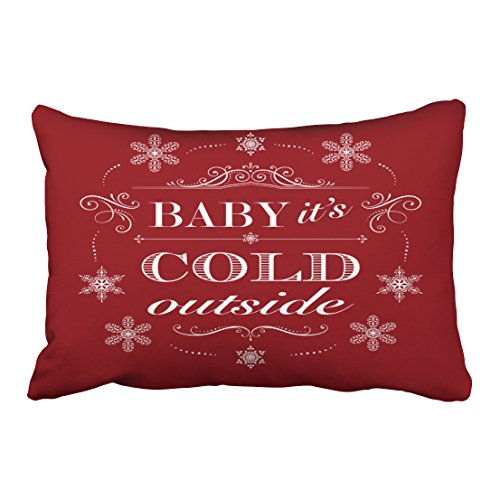 Emvency Pillowcases Xmas New Year Dec Throw Lumbar Pillow Case Christmas Or Apres Ski Red And White Snowflakes Decorative Cushion Cover Case Protectors Queen 20x30 Inches One Side Sofa Couch New Apres Ski