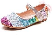 Minibella Girl's Rainbow Glitter Ballet Flats Princess Mary Jane Dress S