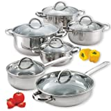 Cook N Home 12 Pc Stainless Steel Cookware Set Pots & Pans & Lids (Small Image)