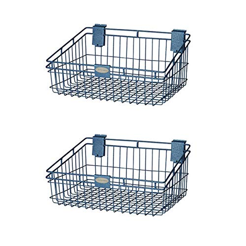 Suncast Storage Trends 12 x 18 Inch Slatwall Mounted Wire Basket, Blue (2 Pack)