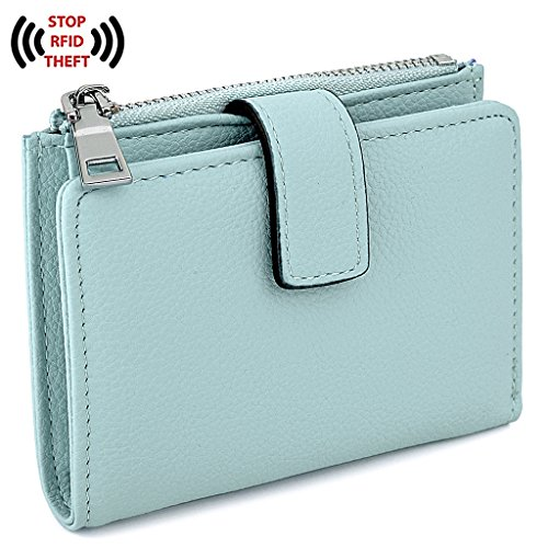 UTO RFID Wallet for Women PU Leather Wallet Card Holder Organizer Girls Small Cute Coin Purse with Snap Closure (Pebbled Leather Snap Wallet)
