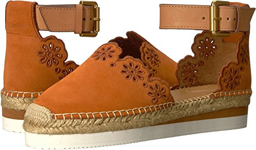 See By Chloe Womens Glyn Flat Espadrillas Floreale Platform Crosta / Orange / Natural Vitello / Cuoio