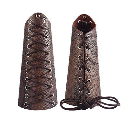 GelConnie Leather Gauntlet Wristband Medieval Bracers Snakeskin Viking Wrist Guards Archery Guards Bracers Wide Arm Armor Cuff for Women Men Halloween Renaissance Costume Props -