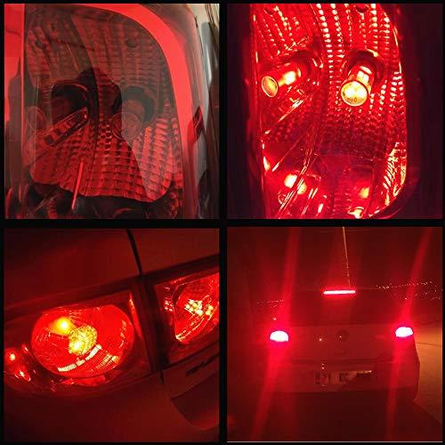 WLJH Bombillas LED de bayoneta en miniatura, 2 unidades, color rojo brillante Bau15s 7506 7507 7225 7528, base de bayoneta de alta potencia 2835 Chip LED ...