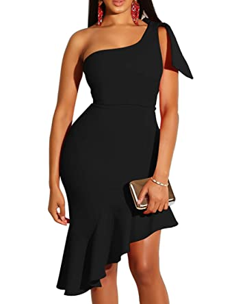 76a7fbb3b89 Mokoru Women s Sexy One Shoulder Sleeveless Ruffle Bodycon Midi Club Party  Dress