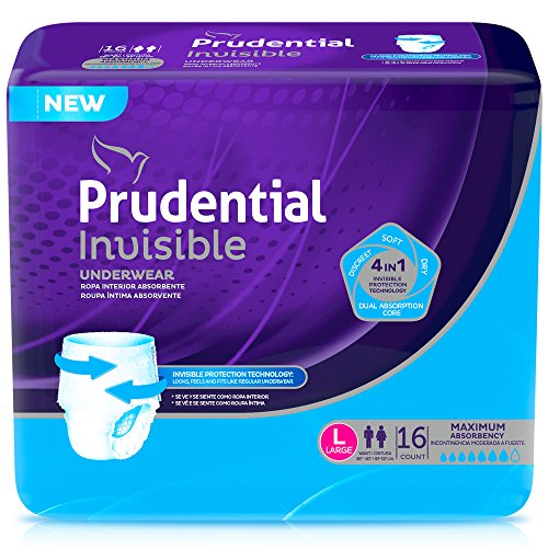 Prudential Invisible Maximum Absorbency Incontinence Underwear For Men   Women  Large 16 Count