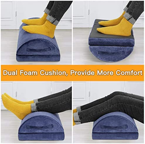 Adjustable Foot Rest – Foot Rest Under Desk Cushion Provides More Comfort for Legs, Ergonomic Footrest Cushion Reduces Pressure on Legs, Ideal for Airplane, Home and Office 51ScH1zqRtL