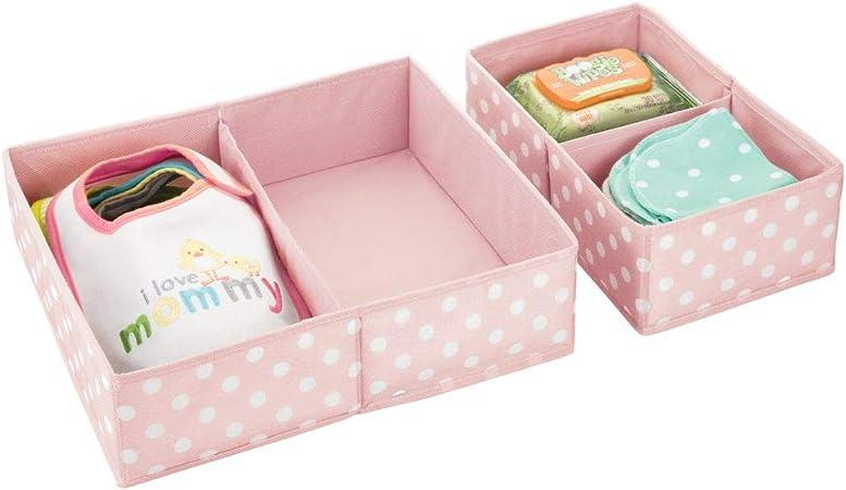 mDesign Juego de 2 cajas para guardar ropa – Práctico organizador de armario en 2 tamaños para