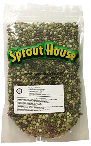 The Sprout House Certified Organic Non-gmo Sprouting Seeds Holly's Mix - Mung, Adzuki, Green Pea, Red Lentil, French Lentil, Green Lentil 1 Pound ()