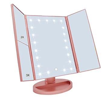 WEILY Tri Fold Lighted Vanity Makeup Mirror With 21 LED Lights Touch Screen And