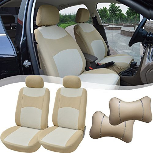 516003 Tan-Fabric 2 Front Car Seat Covers + 2 Synthetic PU Leather Headrest Pillow for Toyota Camry Corolla Echo Yaris Tacoma 4 Runner FJ Land Cruiser Avalon Prius Sequoia Rav 4 2018 2017 2016-2007 Corolla Pillow