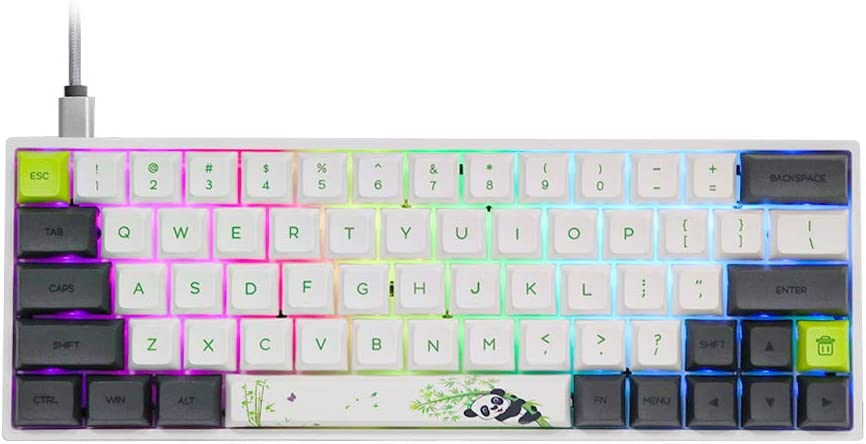 EPOMAKER SK64S Hot Swappable Bluetooth 5.1 Wireless/Wired Mechanical Keyboard with RGB Backlit, PBT Keycaps,IP6X Waterproof for Win/Mac/Gaming (Gateron Optical Black, Panda)