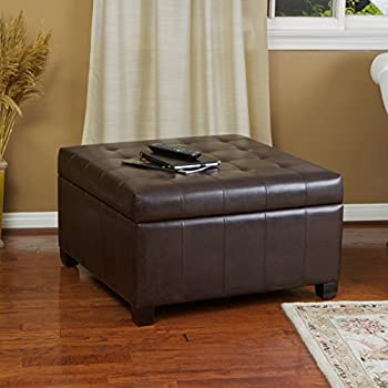 Amazon Com Berkeley Brown Leather Square Storage Ottoman