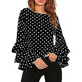 AutumnFall Fashion Women's Flare Sleeve Loose Polka Dot Shirt O-Neck Ladies Casual Blouse Tops (M, Black)