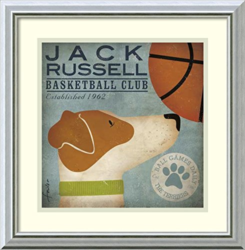 Framed Art Print 'Jack Russell Basketball' by Stephen - Fowlers Sunglasses