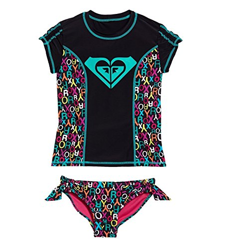 Roxy Big Girls Rash Guard Set (10, Black)