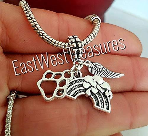 EWT Rainbow Bridge, pet dog cat memorial loss, paw angel wings charm pendant - FITS ALL DIY Bracelet necklaces by EastWest Treasures