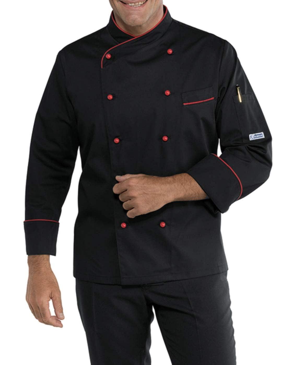 Giacca Cuoco Ricamata Isacco Modello Panama Slim Nero Rosso con Nome Personalizzabile Online XL