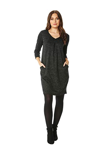 164773af63 ... 3 4 Sleeve Cocoon Dress - Ladies Everyday Smart Casual Work Office  Stretch Comfortable V-Neck 3 4 Sleeve Jersey Day Dresses  Amazon.co.uk   Clothing