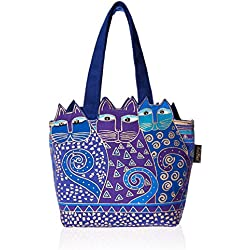 Laurel Burch Tote Zipper Top, 12 by 3-1/2 by 8-1/2-Inch, Tres Gatos, Blue/Gold