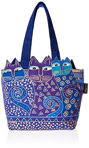 laurel-burch-tote-zipper-top-12-by-3-1-2-by-8-1-2-inch-tres-gatos-blue-gold